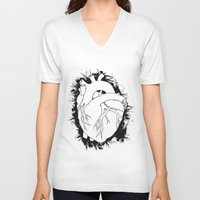 anatomical heart V-neck T-shirts featuring Anatomical Heart by JodiYoung