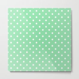 Mint Green with White Polka Dots Metal Print