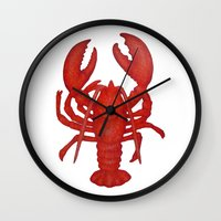 lobster Wall Clocks featuring Lobster by Fischer Fine Arts