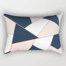 Navy Blue Blush White Gold Geometric Glam #1 #geo #decor #art #society6 Rectangular Pillow
