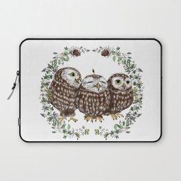 Little Owls in a Forest Wreath Laptop Sleeve