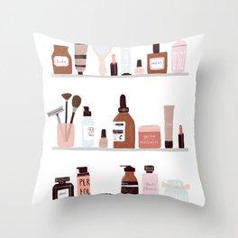 Make up shelfie Throw Pillow