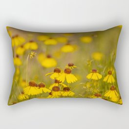 Yellow Brown Bitterweed Wildflowers in Spring Rectangular Pillow