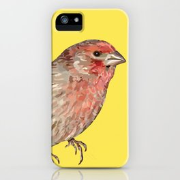 Red House Finch Songbird Digital Illustration iPhone Case