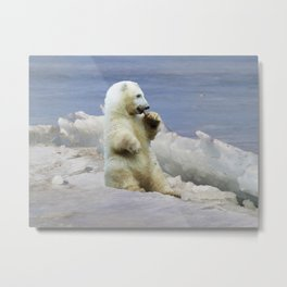 Cute Polar Bear Cub & Arctic Ice Metal Print