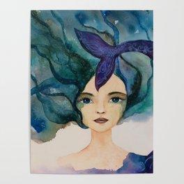 Watercolor Mermaid Blue Green Hair Poster