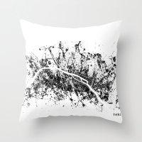 paris map Throw Pillows featuring PARIS by Nicksman