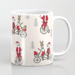 Santa christmas holiday hipster kids tandem bike with reindeer Coffee Mug