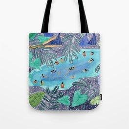 Midnight jungle pool Tote Bag