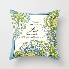 Hand Drawn Paisley Floral, Flower n Leaf Scroll Inspirational Text Throw Pillow