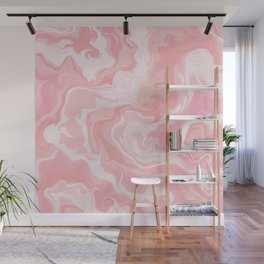 Elegant abstract pink coral white watercolor marble Wall Mural