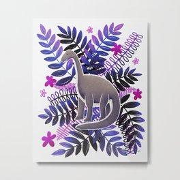 Dinosaur & Leaves - Neon Purple and Pink Metal Print