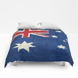 "Australian flag, retro ""folded"" textured version (authentic scale 1:2) Comforters"