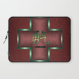 """""""Courage"""" Chinese Calligraphy on Celtic Cross Laptop Sleeve"""