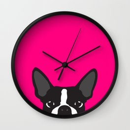 Boston Terrier Hot Pink Wall Clock