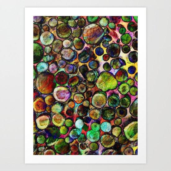 Colored Wood Pile 2 Art Print
