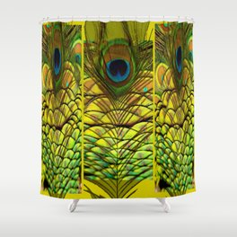 GREEN-YELLOW PEACOCK FEATHERS ART DESIGN Shower Curtain