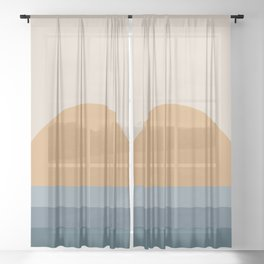 Minimal Retro Sunset / Sunrise - Ocean Blue Sheer Curtain
