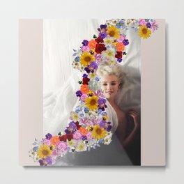 Marilyn in Bloom Metal Print