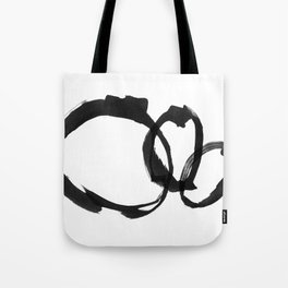 Black and White Round Abstract Shapes Minimalist Ink Painting - Horizontal Tote Bag