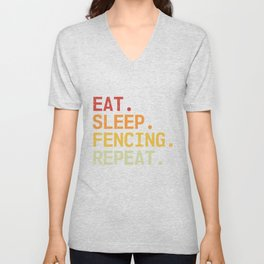 Eat Sleep Fencing Repeat Vintage Fencer Retro Unisex V-Neck