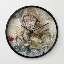 A child on a walk Print Original Oil Painting on Canvas Wall Clock