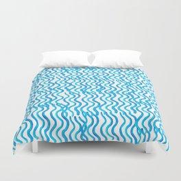 Nautical Miami Blue Indigo Ocean Wavey Duvet Cover