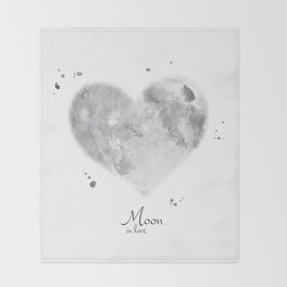 Moon in love Throw Blanket