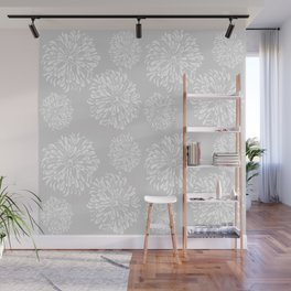 Grey and White Zinnias Wall Mural
