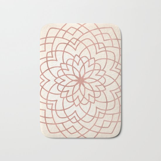 Mandala Floral Geometry Rose Gold on Cream Bath Mat