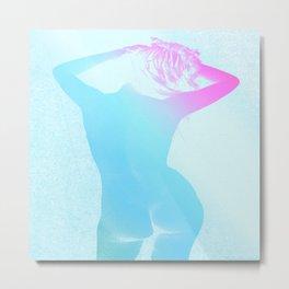 Carefree Nude Blue Fuchsia Teal Metal Print