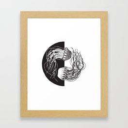 Jellyfish Yin Yang Framed Art Print