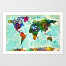 Abstract Map of the World Art Print