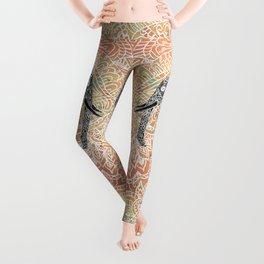 Tribal Paisley Elephant Colorful Henna Floral Pattern Leggings