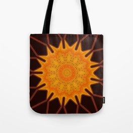 New Media Art Marigold on Mocha Kaleidoscope  Tote Bag
