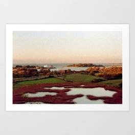 Block Island, Rhode Island Autumn Salt Ponds and Coast Guard House Art Print