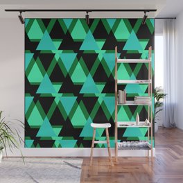 Abstract pattern . The green triangles . Wall Mural