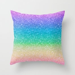 Rainbow Glitter Throw Pillow