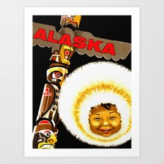 Alaska Totem Pole Travel Art Print