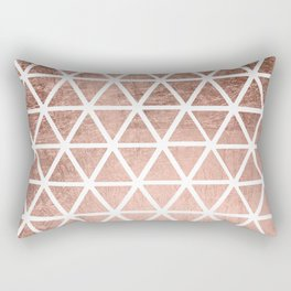 Geometric faux rose gold foil triangles pattern Rectangular Pillow