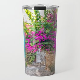 Purple bougainvillaea and blue shutters Travel Mug