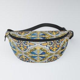 Seamless Floral Pattern Ornamental Tile Design : 4 -blue, Fanny Pack