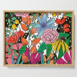 Colorful Floral Explosion Serving Tray