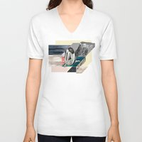 anxiety V-neck T-shirts featuring Social Anxiety by Lerson