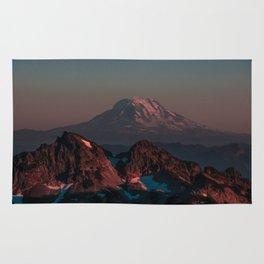 Pink Smokey Mountain with snow Rug