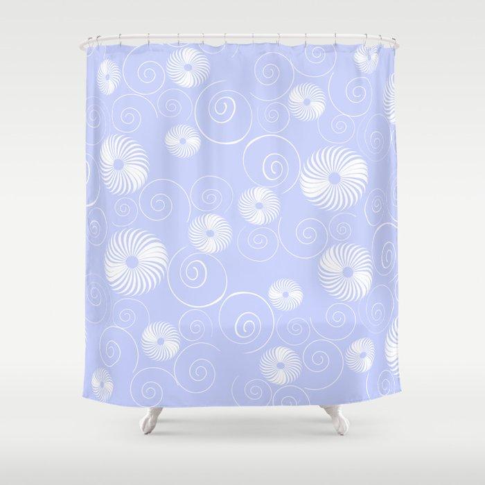 White Spirals Shower Curtain