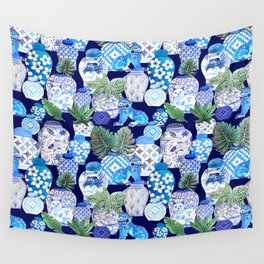 Chinoiserie Blue and white Chinese Ginger Jars and Foo dogs with palm and calathea Wall Tapestry
