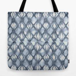 Braided Diamond Indigo Blue on Lunar Gray Tote Bag