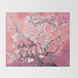 Van Gogh Almond Blossoms : Peachy Pink Throw Blanket