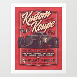 Vintage Style Fictional Halloween Hot Rod Show - Red Art Print